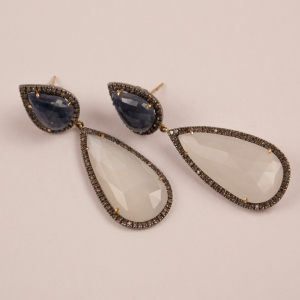 Moonstone, Blue Sapphire and Diamond Dangle Earrings