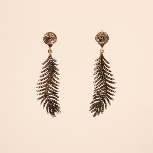 Diamond Feather Dangle Earrings