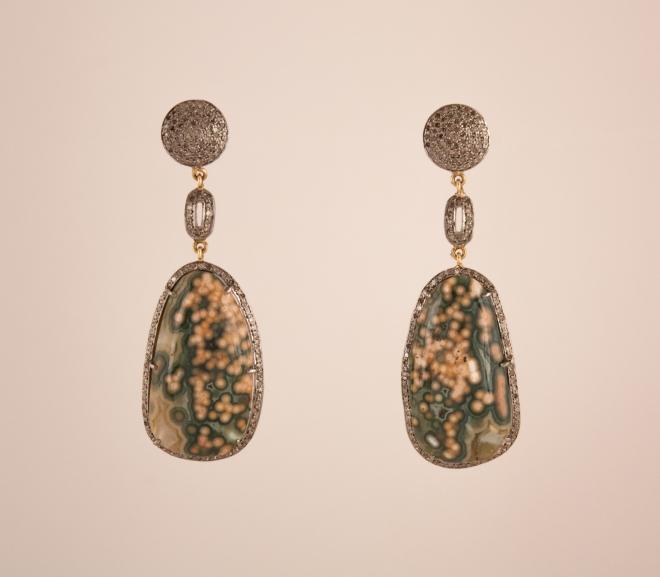 Green Jasper and Diamond Dangle Earrings