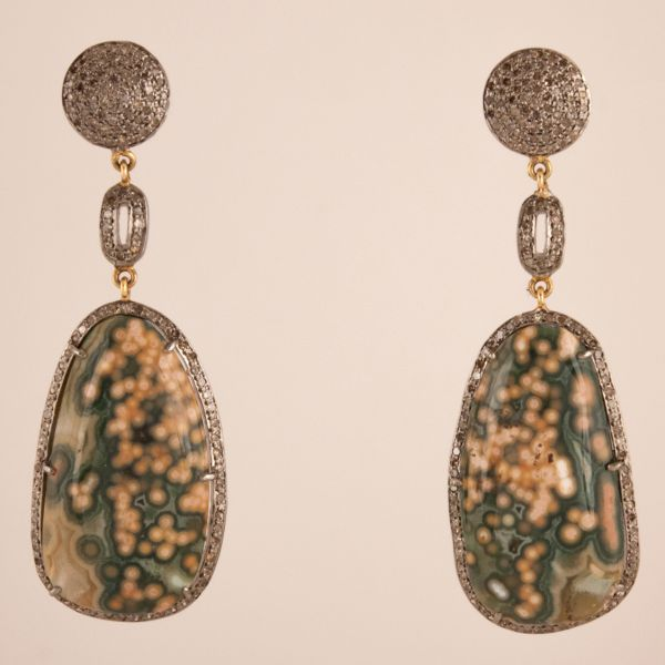 Green Jasper and Diamond Dangle Earrings