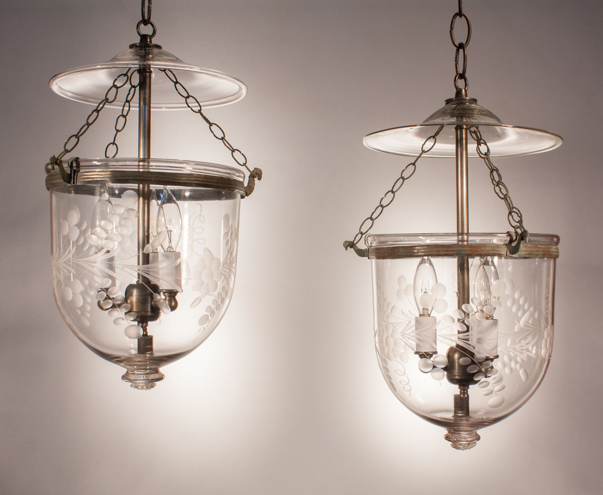 Antique Pair Of Bell Jar Lantern Pendant Lighting Fixture