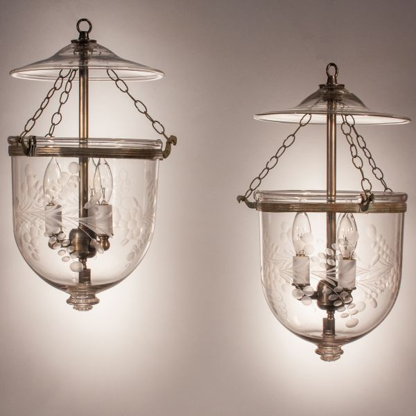 Pair of Antique Petite Bell Jar Lanterns with Floral Etching