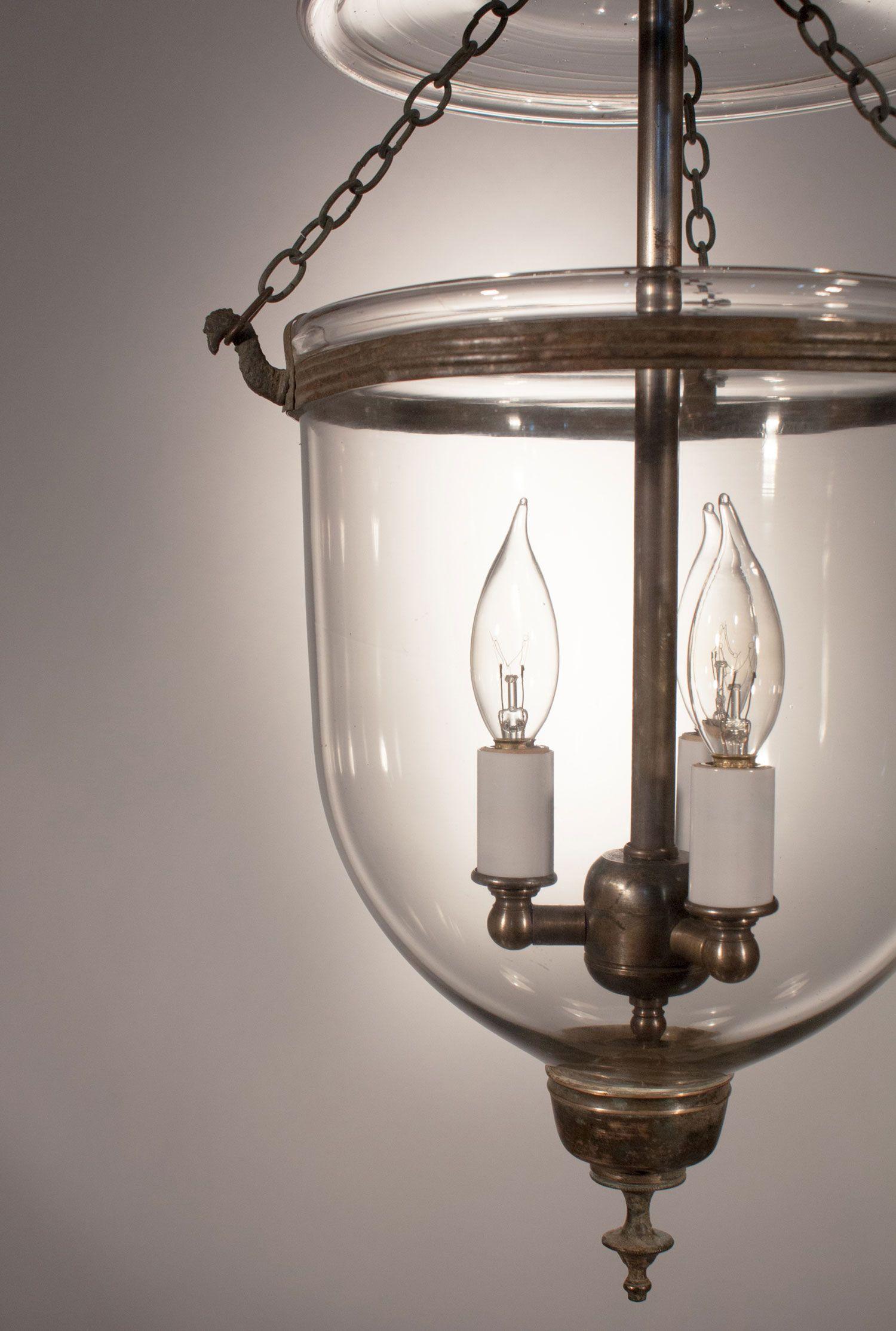 Petite Antique Bell Jar Lantern Pendant Light Fixture