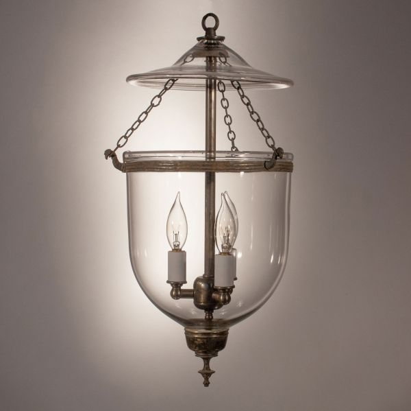 Petite 19th Century Handblown Glass Bell Jar Lantern