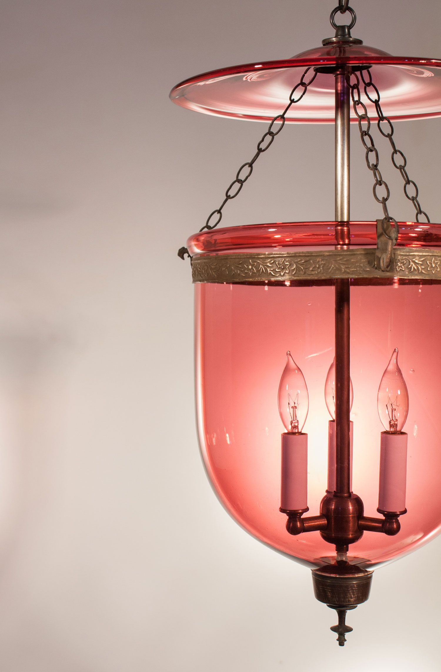 Antique Cranberry Colored Handblown Glass Bell Jar Lantern