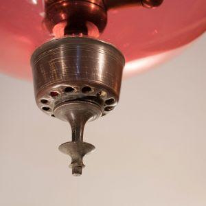 Antique Cranberry Glass Bell Jar Lantern