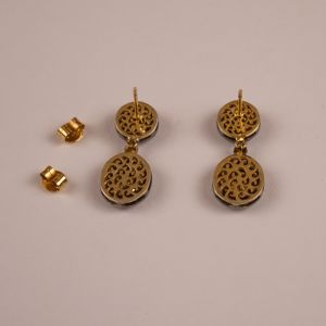 Rose Cut Diamond Dangle Earrings