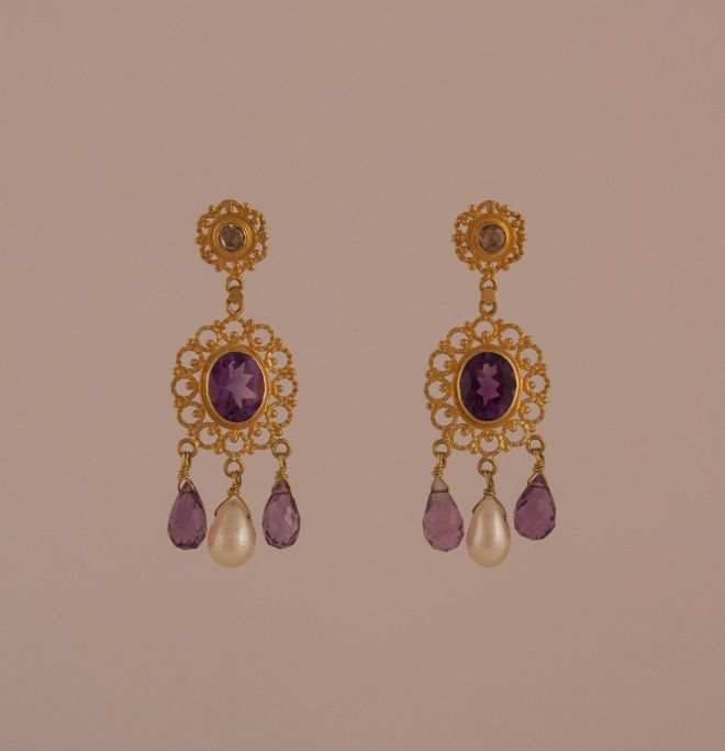Amethyst, Diamond, Pearl and 18 Karat Gold Dangle Earrings