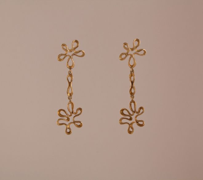 "Vintage ""Mod"" 14 Karat Gold Clip-On Screw Back Dangle Earrings"