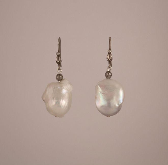 White Fresh Water Baroque Pearl Dangle Earrings