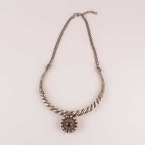 Tribal Silver Torque Necklace with Garnet Pendant from India