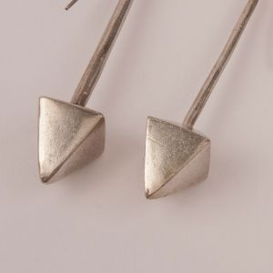 Tribal Silver Pyramid Earrings from India