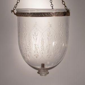 19th Century Bell Jar Lantern with Wheat Etching