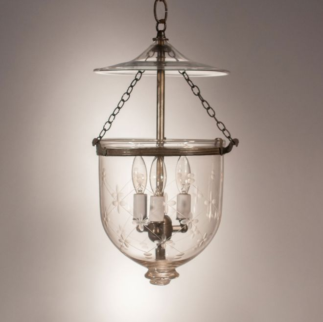 Petite 19th Century English Bell Jar Lantern with Trellis Etching