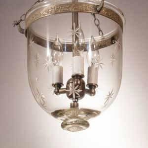 Petite English Bell Jar Lantern with Etched Stars