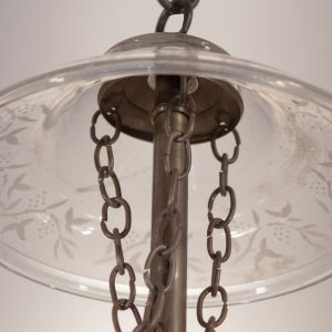 19th Century English Globe Bell Jar Lantern with Vine Etching