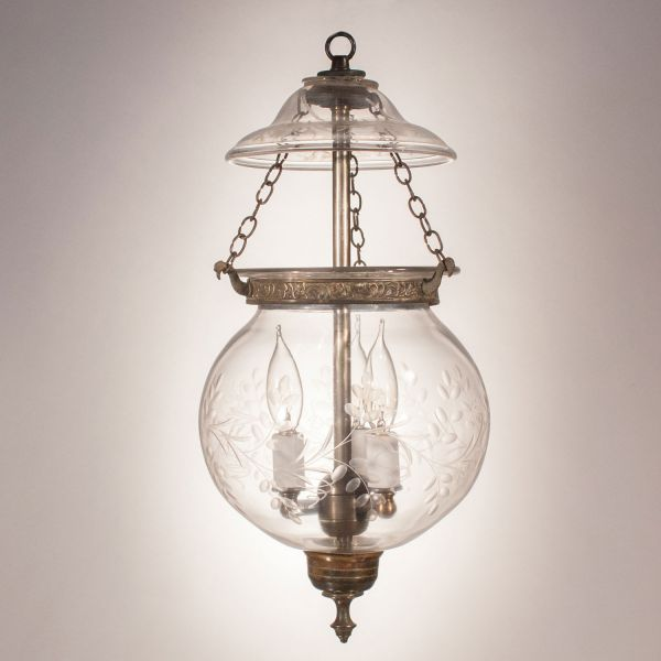 19th Century English Globe Bell Jar Lantern with Vine Etching