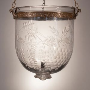 19th Century English Bell Jar Lantern with Grape and Vine Etching