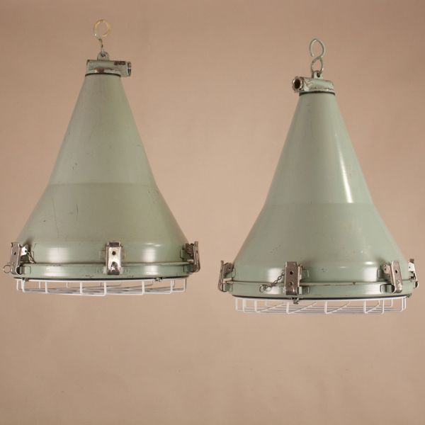 Pair of Vintage Painted Aluminum Industrial Pendant Lights