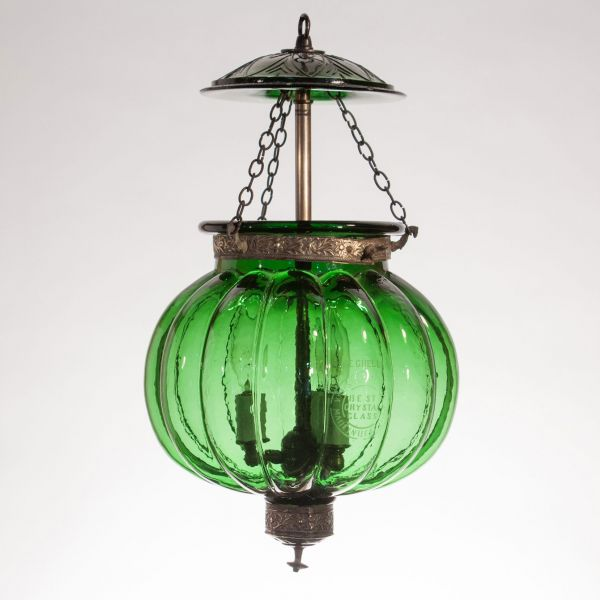 19th Century Emerald Green Pumpkin or Melon Lantern