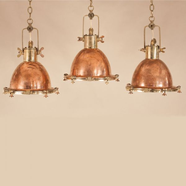 Set of Vintage Copper and Brass Maritime Pendants