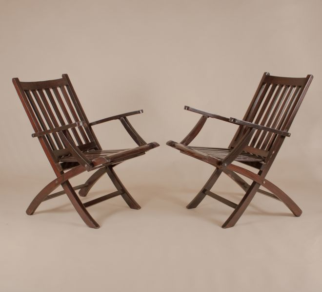 Pair of British Colonial Folding Rosewood Steamer Deck Chairs