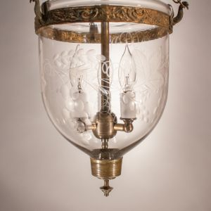 Petite Bell Jar Lantern with Grape and Leaf Etching