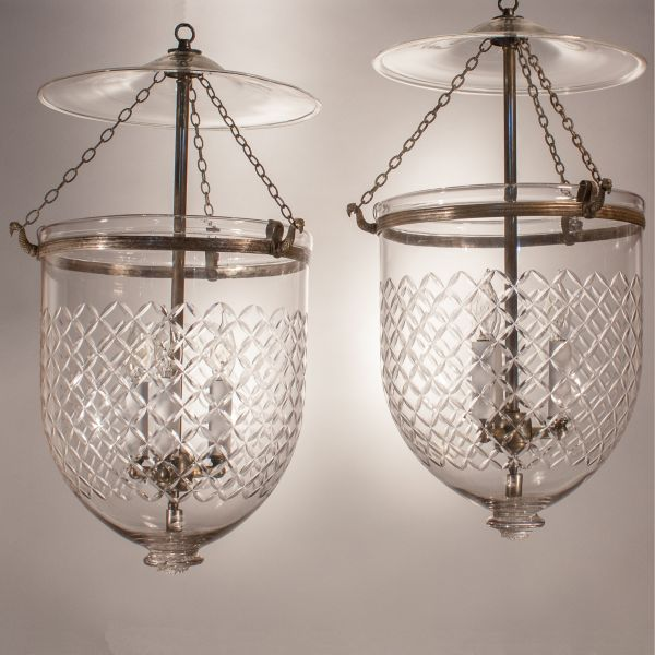 Pair of Bell Jar Lanterns with Diamond Etching