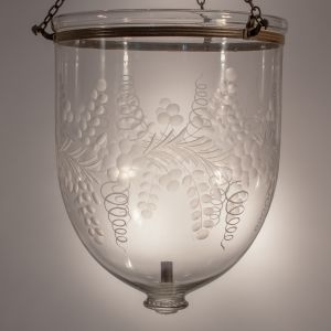 Large Bell Jar Lantern with Floral Etching