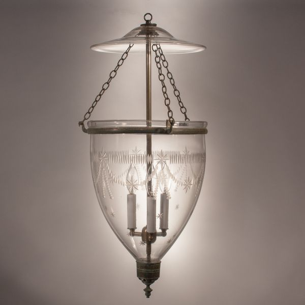 Large Bell Jar Lantern with Federal Etching