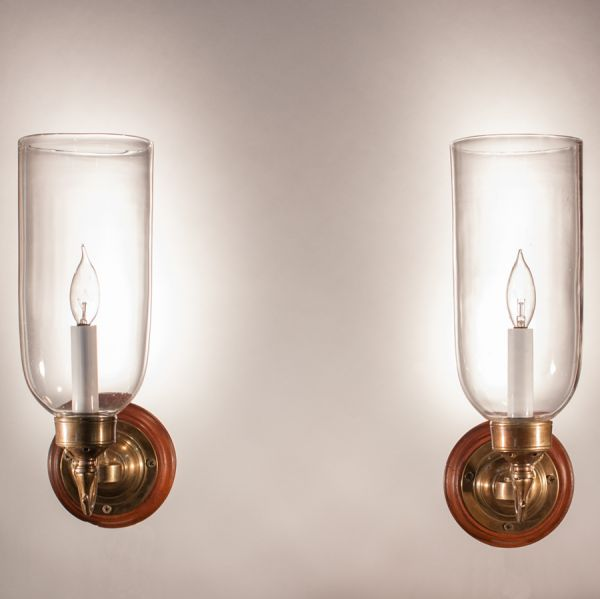 Pair of 19th Century Hurricane Shade Wall Sconces