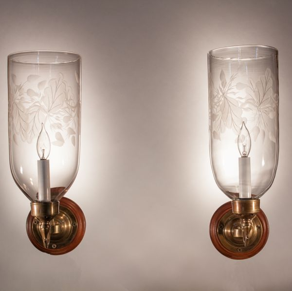 Pair of 19th Century Hurricane Shade Wall Sconces with Frosted Leaf Etching