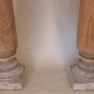 Pair of Late 19th Century Satin Wood Columns