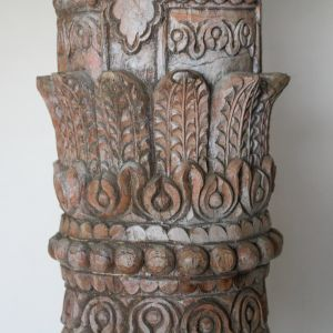 Pair of Carved Teak Wood Columns