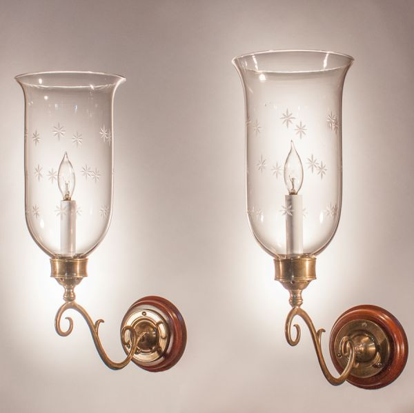 Pair of 19th Century Hurricane Shade Sconces with Star Etching