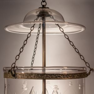Large Bell Jar Lantern with Trellis Etching