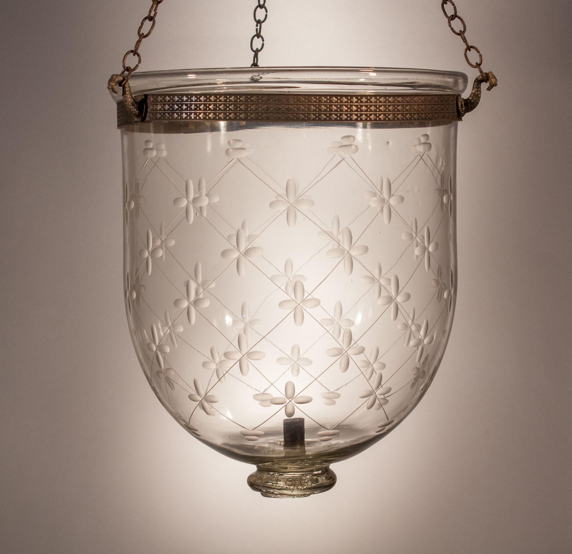 Antique English Glass Bell Jar Lantern With Trellis