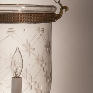 Bell Jar Lantern with Trellis Etching