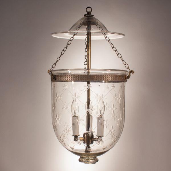 Bell Jar Lantern with Trellis Etching