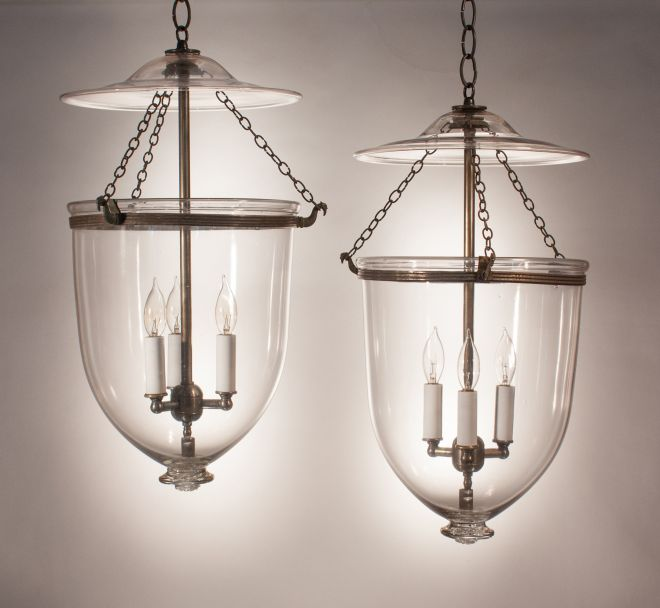 Pair of 19th Century Clear Glass Bell Jar Lanterns