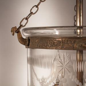 Pair of Petite Bell Jar Lanterns with Federal Etching