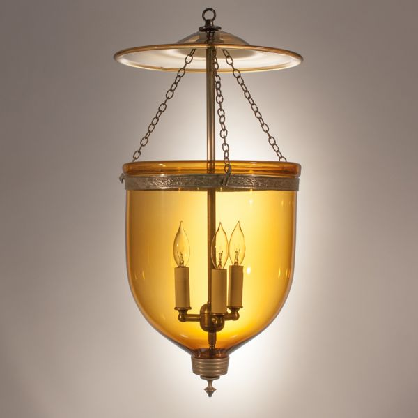 19th Century Bell Jar Lantern with Amber Colored Glass