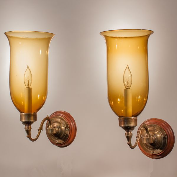 Pair of 19th Century Hurricane Shade Wall Sconces wit Amber Colored Glass