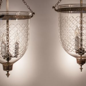 Pair of 19th Century Bell Jar Lanterns with Diamond Etching