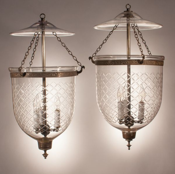 Pair of 19th Century Bell Jar Lanterns with Diamond Etching