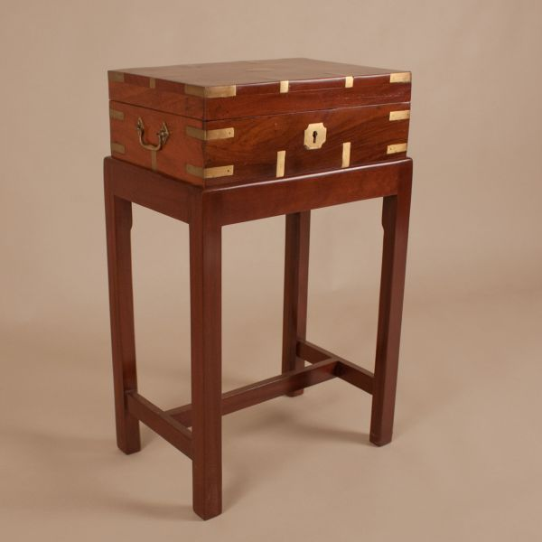 British Campaign Mahogany Officer's Chest on Stand
