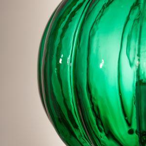 19th Century Emerald Green Pumpkin or Melon Bell Jar Lantern