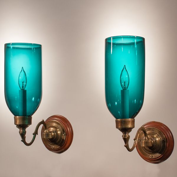 Pair of Blue Green Teal Hurricane Shade Wall Sconces