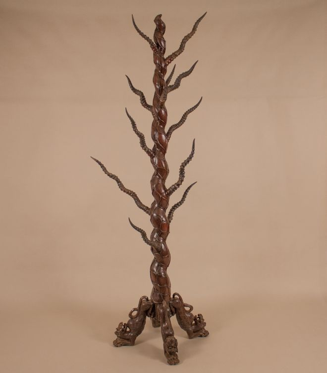 Rosewood and Horn Hat or Coat Stand