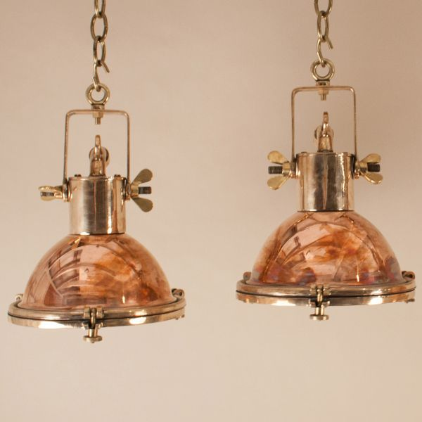Pair of Petite Copper and Brass Nautical Pendant Lights